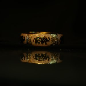 gold plated Kada or bangle with elephant design